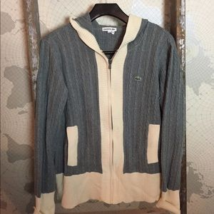 Lacoste cable knit zip cardigan / 14 GUC